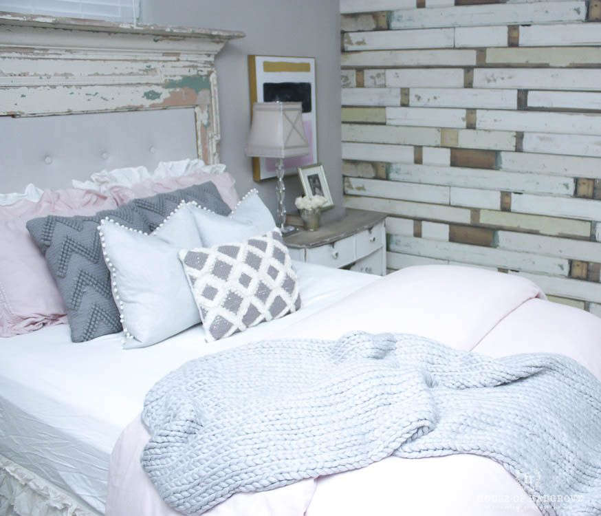 guest bedroom refresh blush grey  gold  bedroom