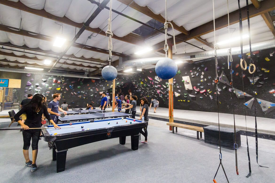 The Factory Bouldering Gym In Orange California Beta Together Bouldering Gym Rock Climbing Gym Bouldering