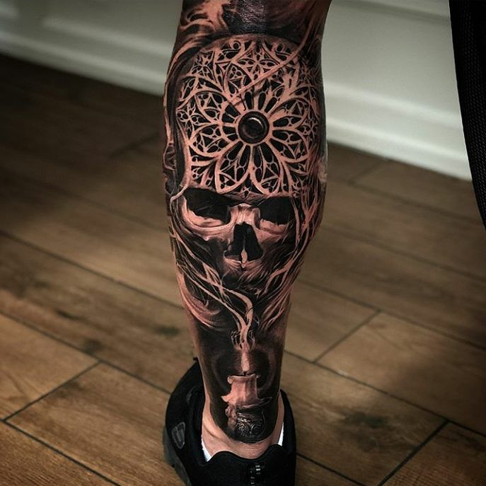 aec02aa70 Calf piece | — Tattoos ON Men — | Tattoos for guys, Skull tattoos ...