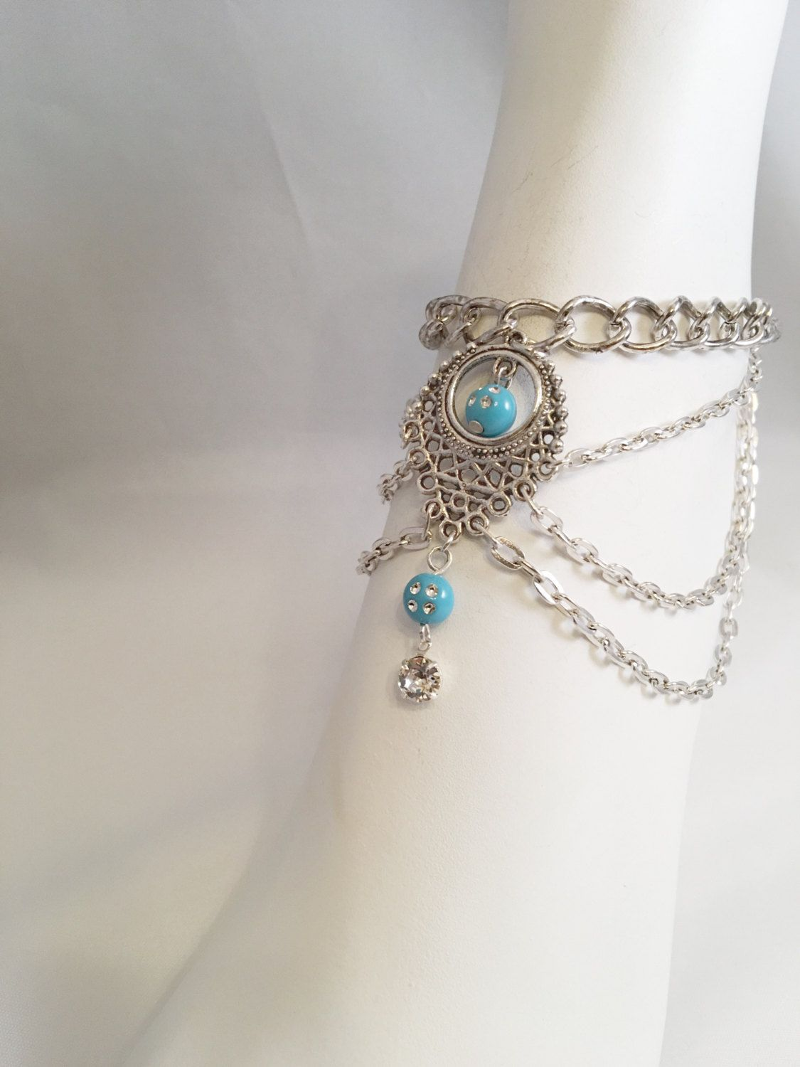 Anklet Foot  Bracelet, Anklet Chains, Layered Anklets, Turquoise Colored Ankle Bracelet, Chain Anklet by BeACharm on Etsy