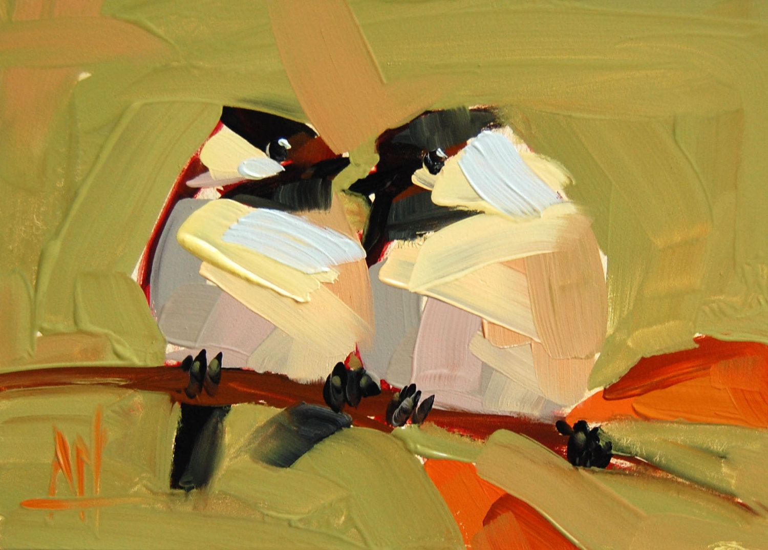 Two Chickadees no. 89 original bird oil painting by Angela Moulton 5 x 7 inch on panel