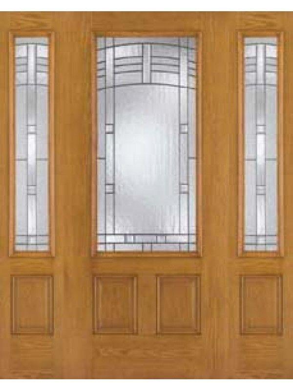 Exterior Door With Two Sidelites Oak Fiberglass 34 Lite Maple Park