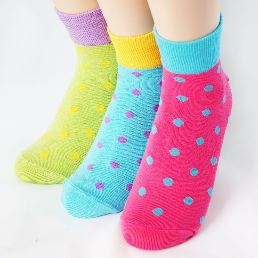 FLUORESCENCE DOT SOCKS 3PAIRS=1PACK Made in KOREA women woman girl big kids fun #COLORMIX #allStyle