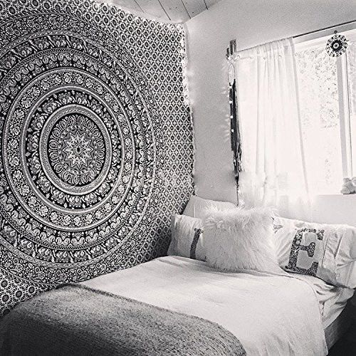 Queen Hippie Indian Tapestry Elephant Mandala Throw-Wall Hanging Gypsy Bed Sheet