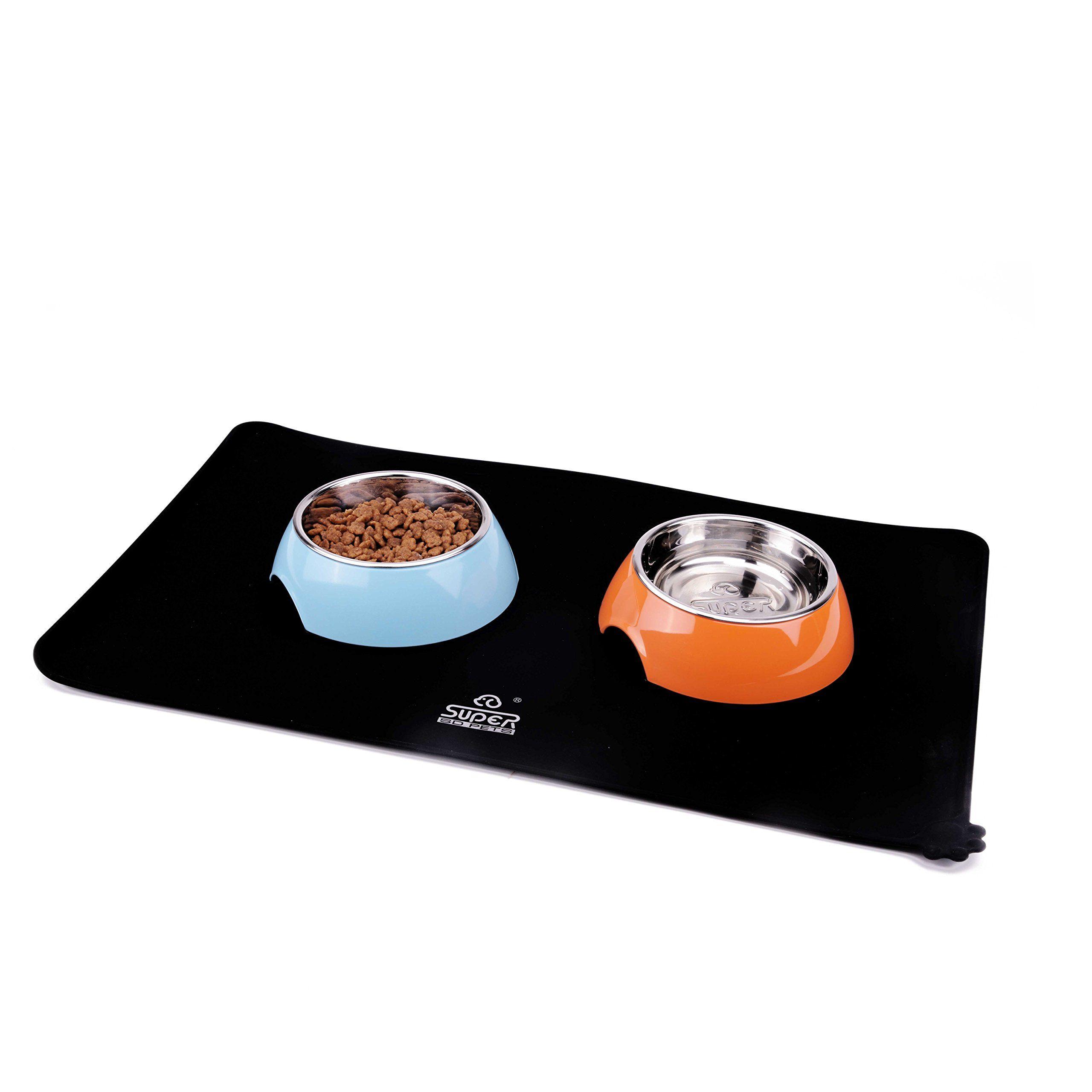 SuperDesign Square Pet Food Mat Made of Premium FDA Grade