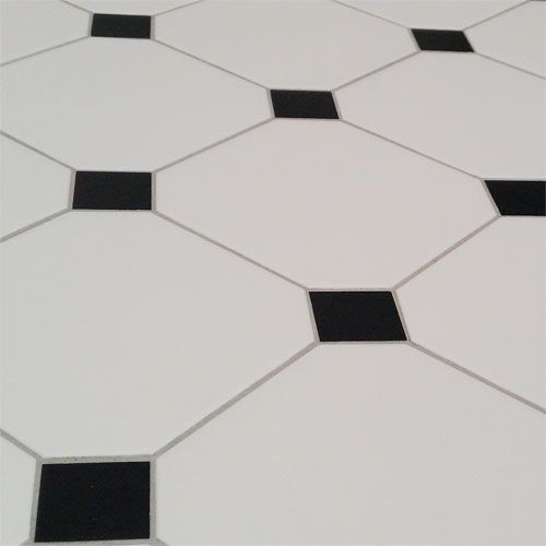 Black White Tile Floor Octagonal
