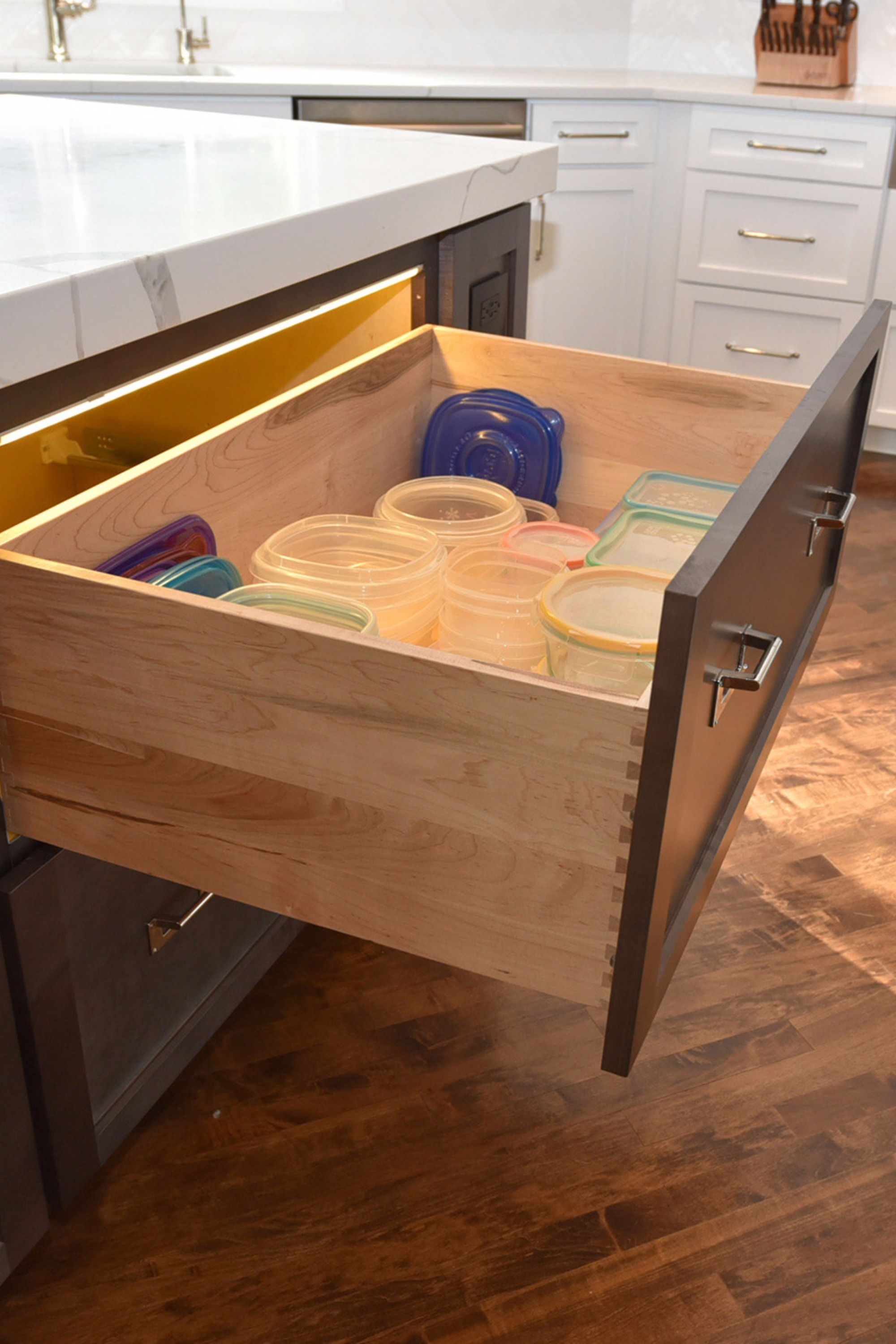 Two Drawer Base With A 10 High Dovetail Drawer Box And Look At This Clever Little Light Fixture The Homeowne Online Kitchen Cabinets Cabinets Online Cabinet