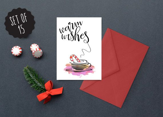Illustrated Holiday Christmas Cards  Warm by WhiteStainStudio