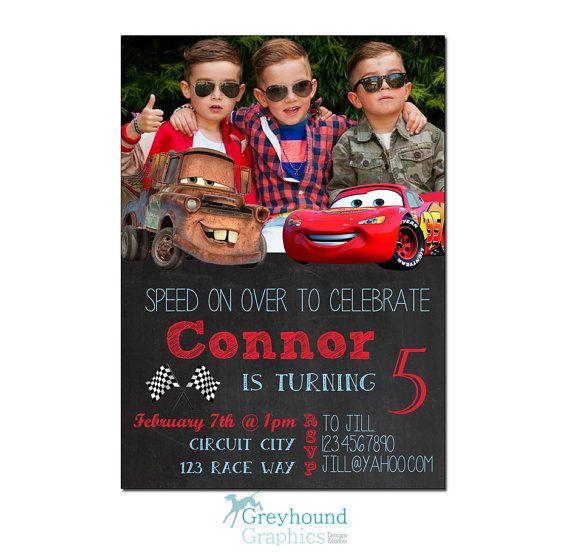 Autos Einladung Geburtstag einladen Disney Disney Cars Lightning McQueen Mater junge Knaben Auto Rote Tafel druckbare einladen Einladung Karte
