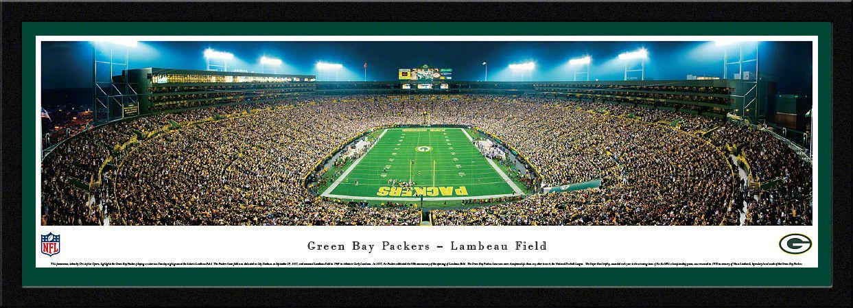 Green Bay Packers Lambeau Field Night End Zone Panoramic Picture ...