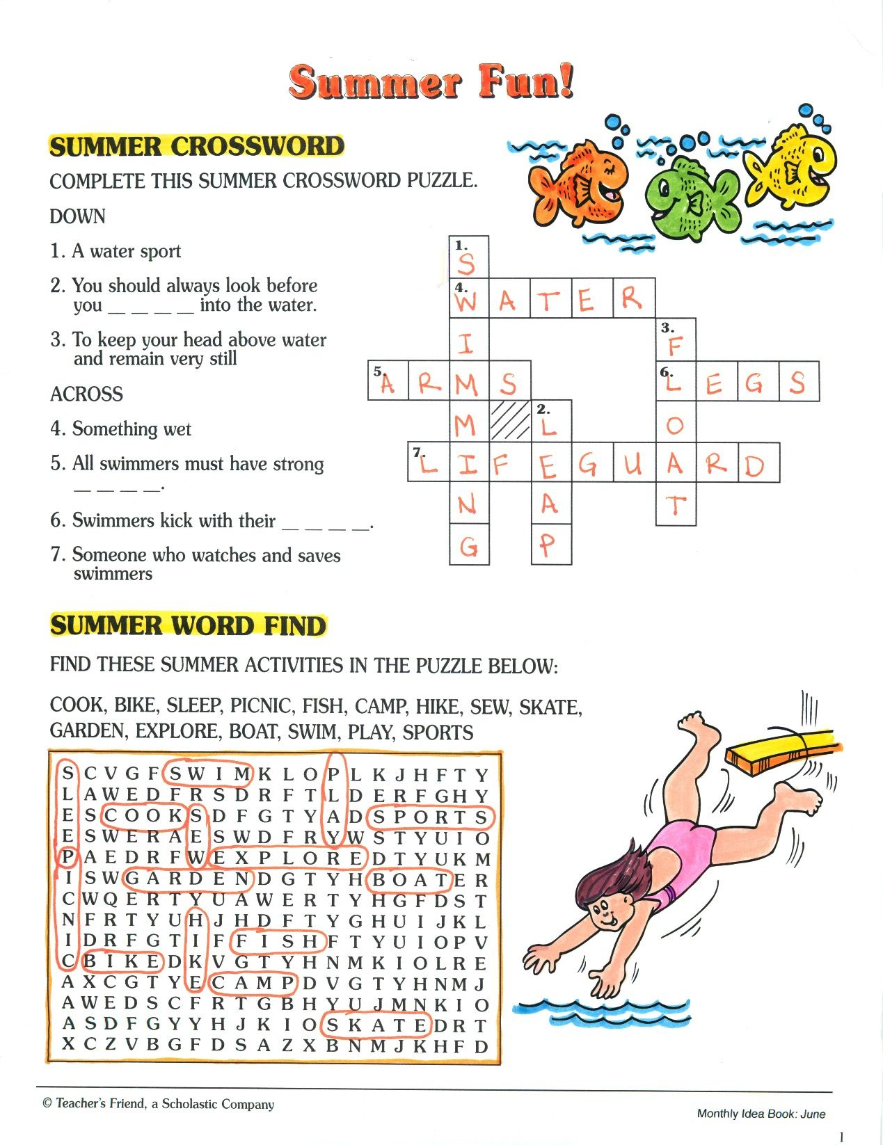 These Summer Themed Puzzles A Crossword And Word Search Are Almost As Fun As Summer Itself Summer Puzzle Summer Fun Fun