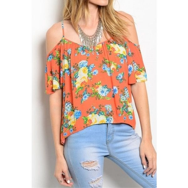 3d9ae589efadbb Golden Terri Floral Cold Shoulder Top ($7.50) ❤ liked on Polyvore featuring  tops, coral, floral print top, terry top, open shoulder top, cold shoulder  tops ...