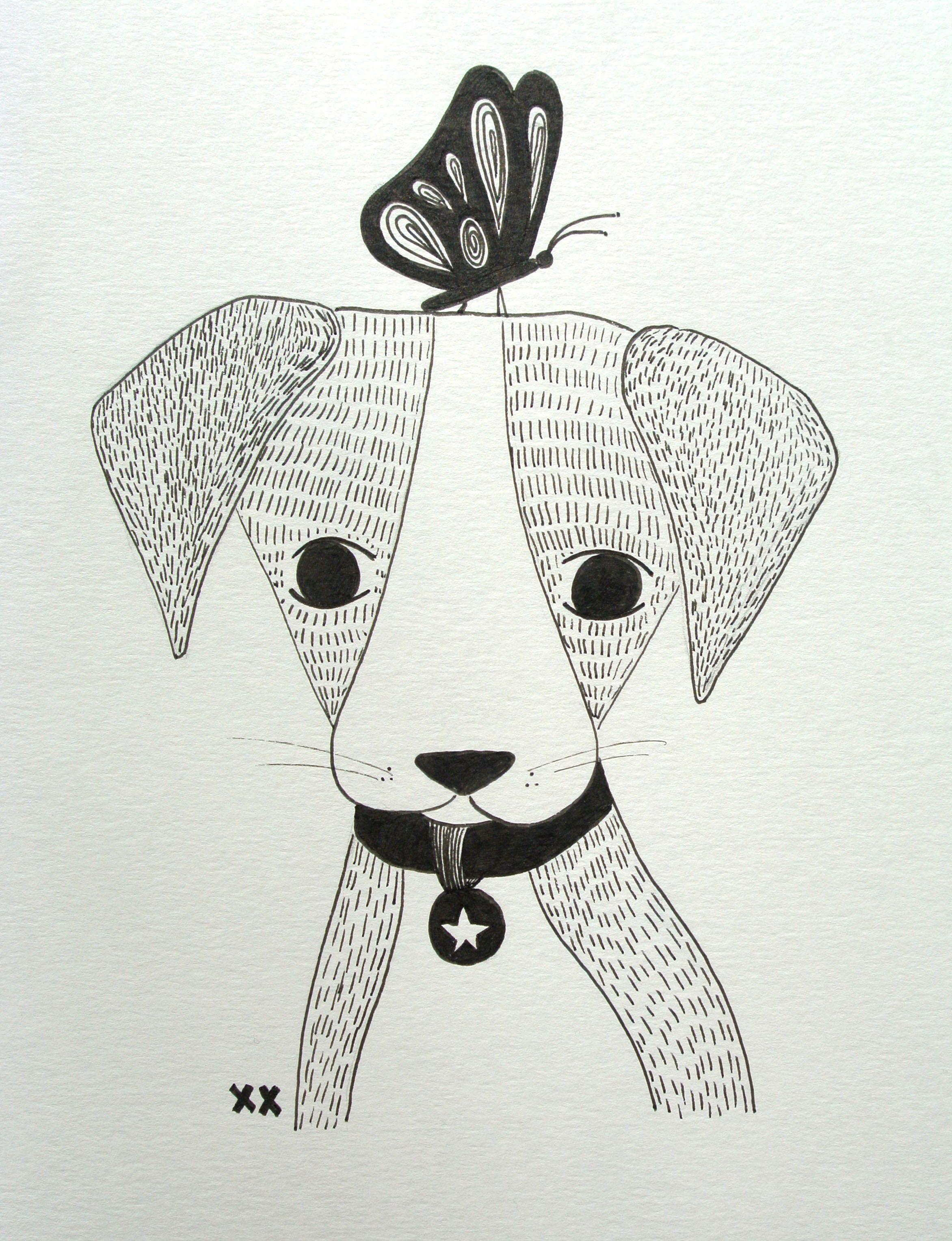 Dog Illustration Hondje Illustratie Kidsroom Www Kinderkamervintage Nl Dieren Tekenen Illustratie Kunst Design Illustraties