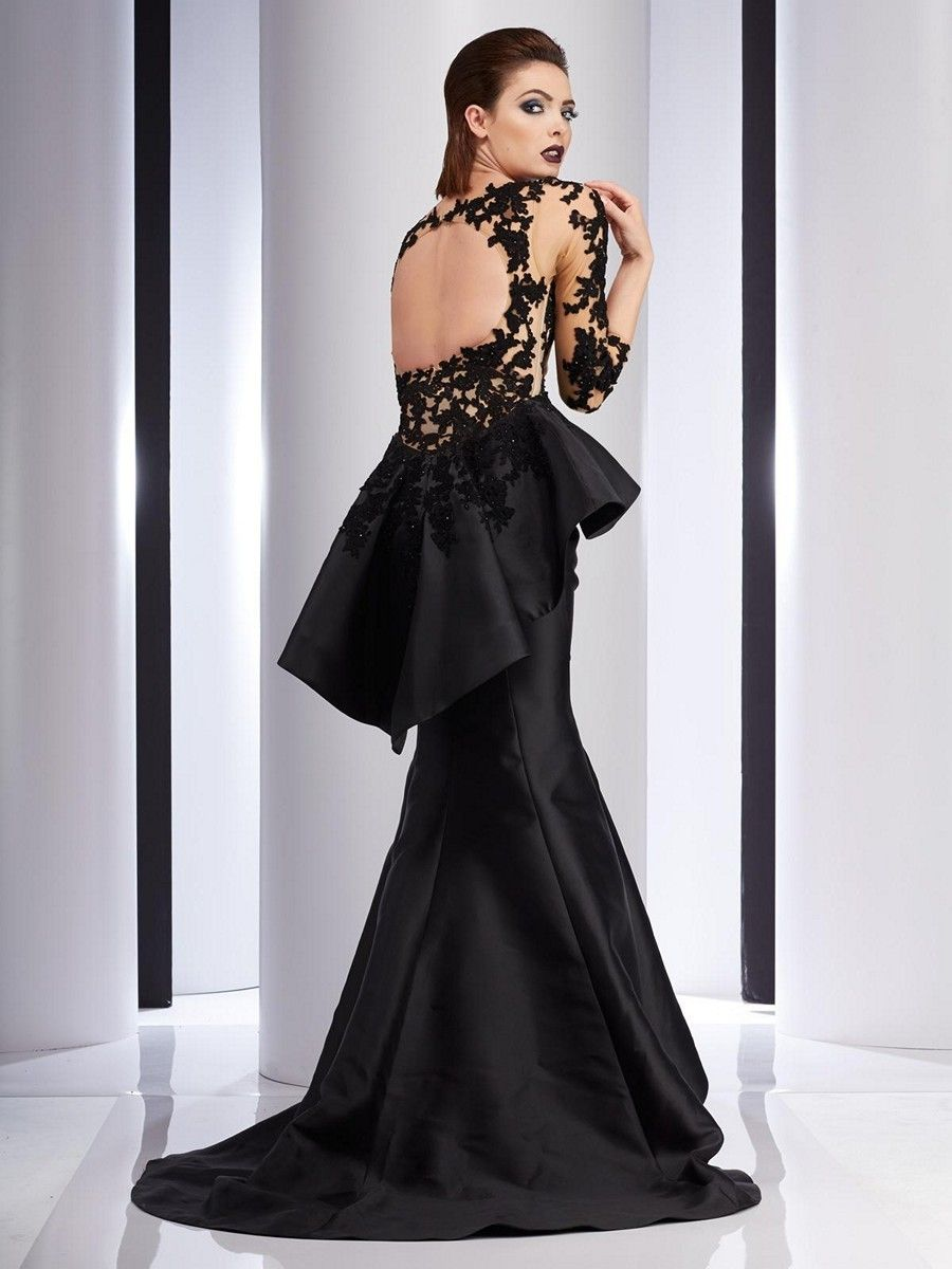 Clarisse Couture 4701 Pleated Peplum Evening Dress | Clarisse ...