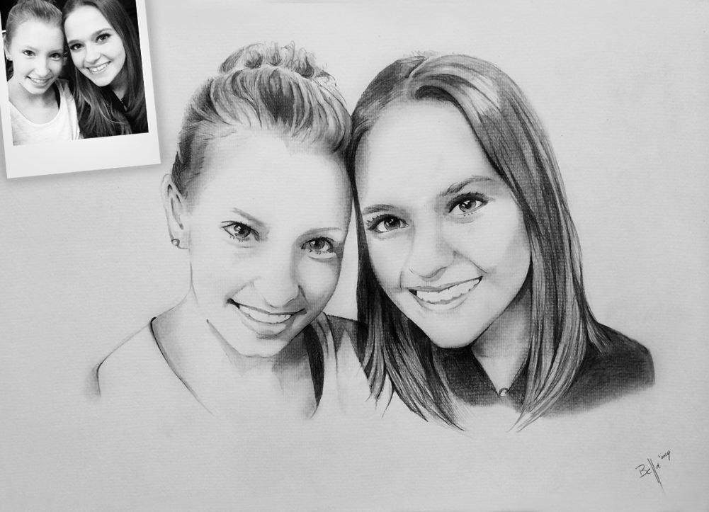 Portrait zeichnen lassen - Bleistiftzeichnung von 2 ...