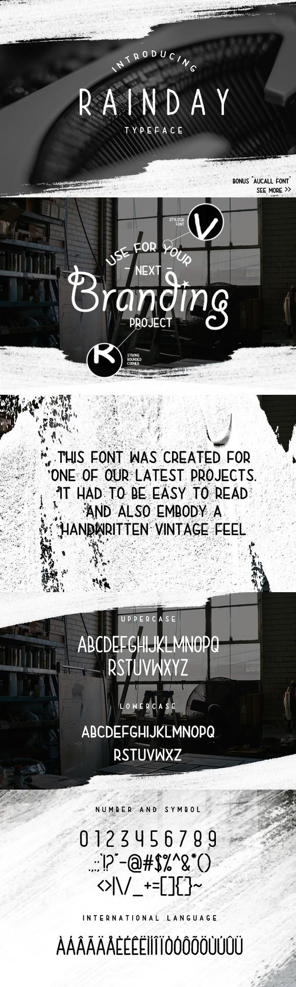 Rainday Typeface Font + Bonus. Display Fonts. $12.00