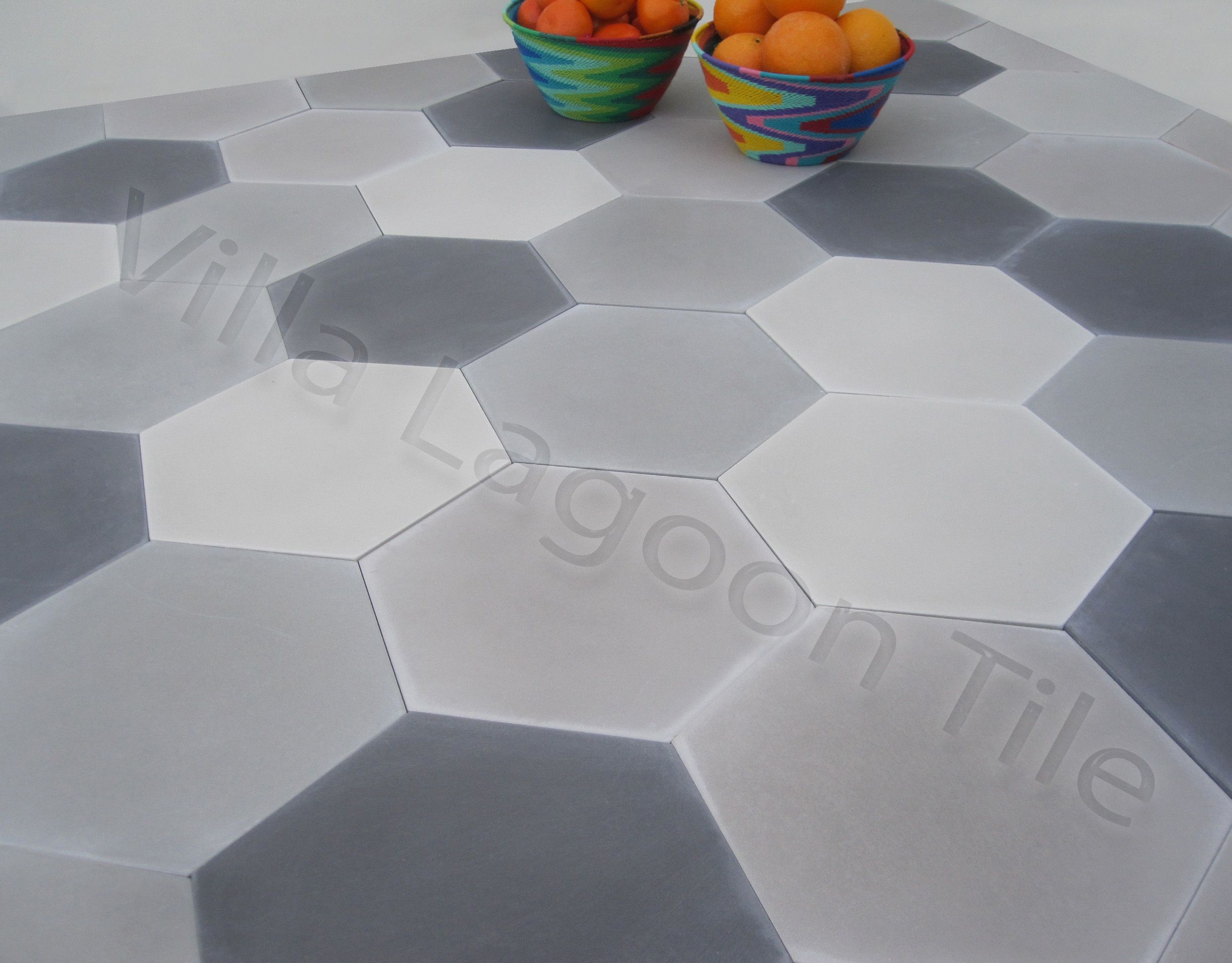 Kitchen bathroom floor option gray hexagon tile in a variety of cement hex tiles as a marble alternative mixed gray hex tiles from villa lagoon tile dailygadgetfo Choice Image