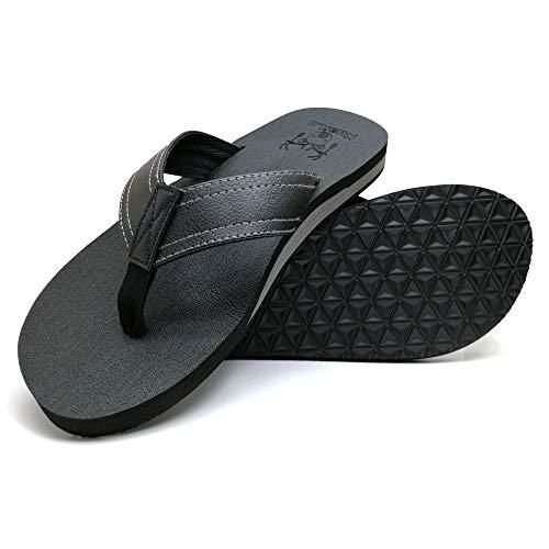 KuaiLu Men's Yoga Mat Leather Flip Flops Thong Sandals with Arch Support – 8 / Black