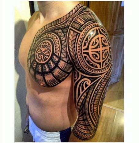 very detailed polynesian tattoo tattoo arm oberkoerper pinterest tattoo ideen maorie. Black Bedroom Furniture Sets. Home Design Ideas