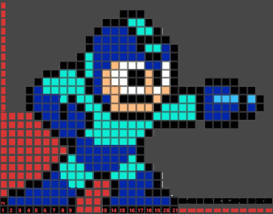 megaman pixel art template