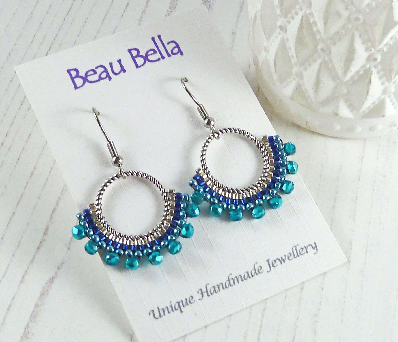 Earrings Blue Beaded Hoop Earring
