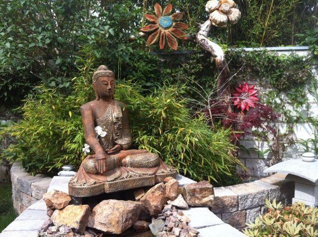 Steinfigur großer Buddha Shiva Frostfest Garten Deko Steinguss ...