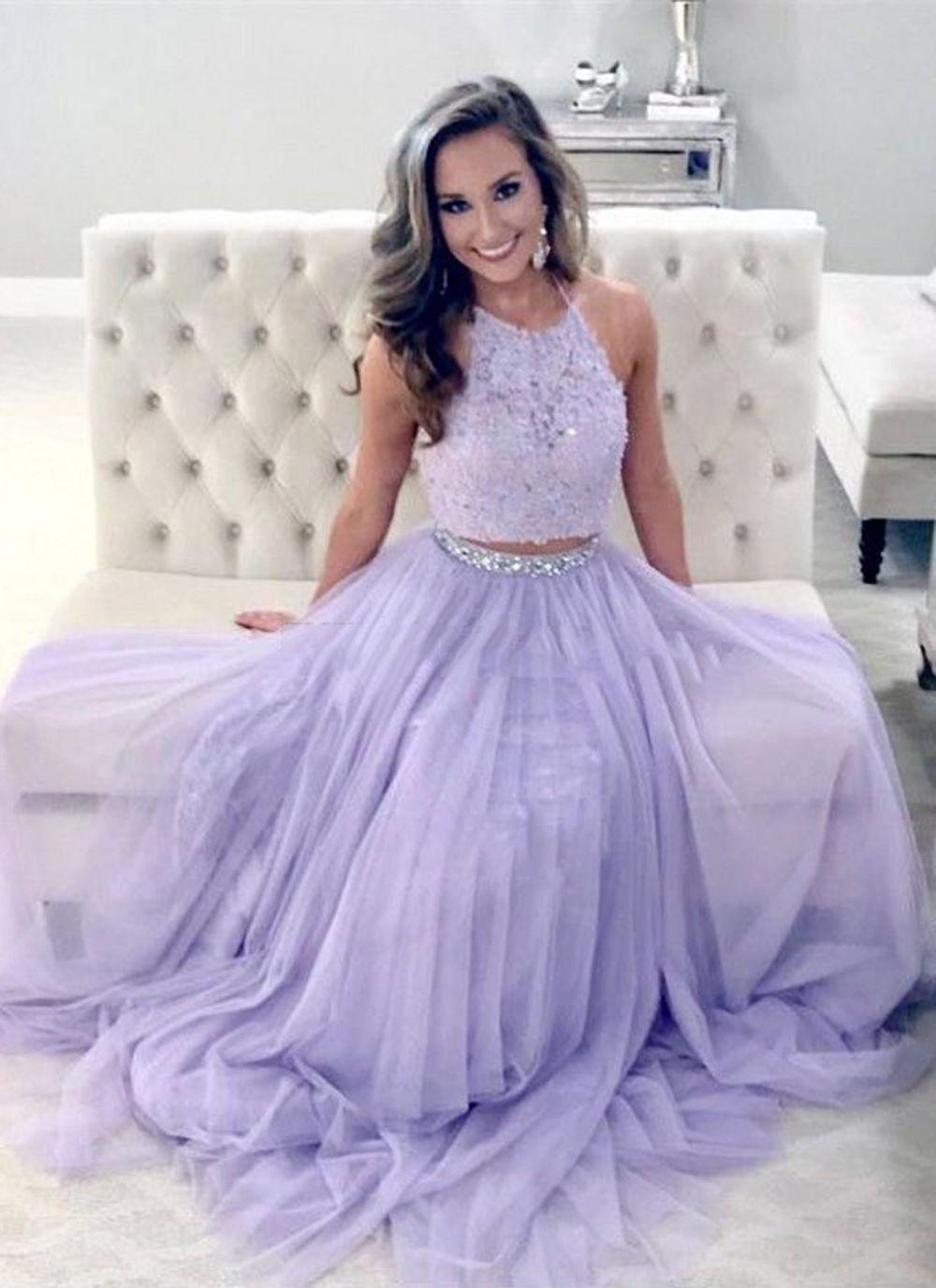 Sp1134 Elegant Prom Dresses Lavender Prom Dress Two Piece Prom Dresses Halter Prom Gown Lace Prom D Lavender Prom Dresses Elegant Prom Dresses Piece Prom Dress [ 1375 x 1000 Pixel ]