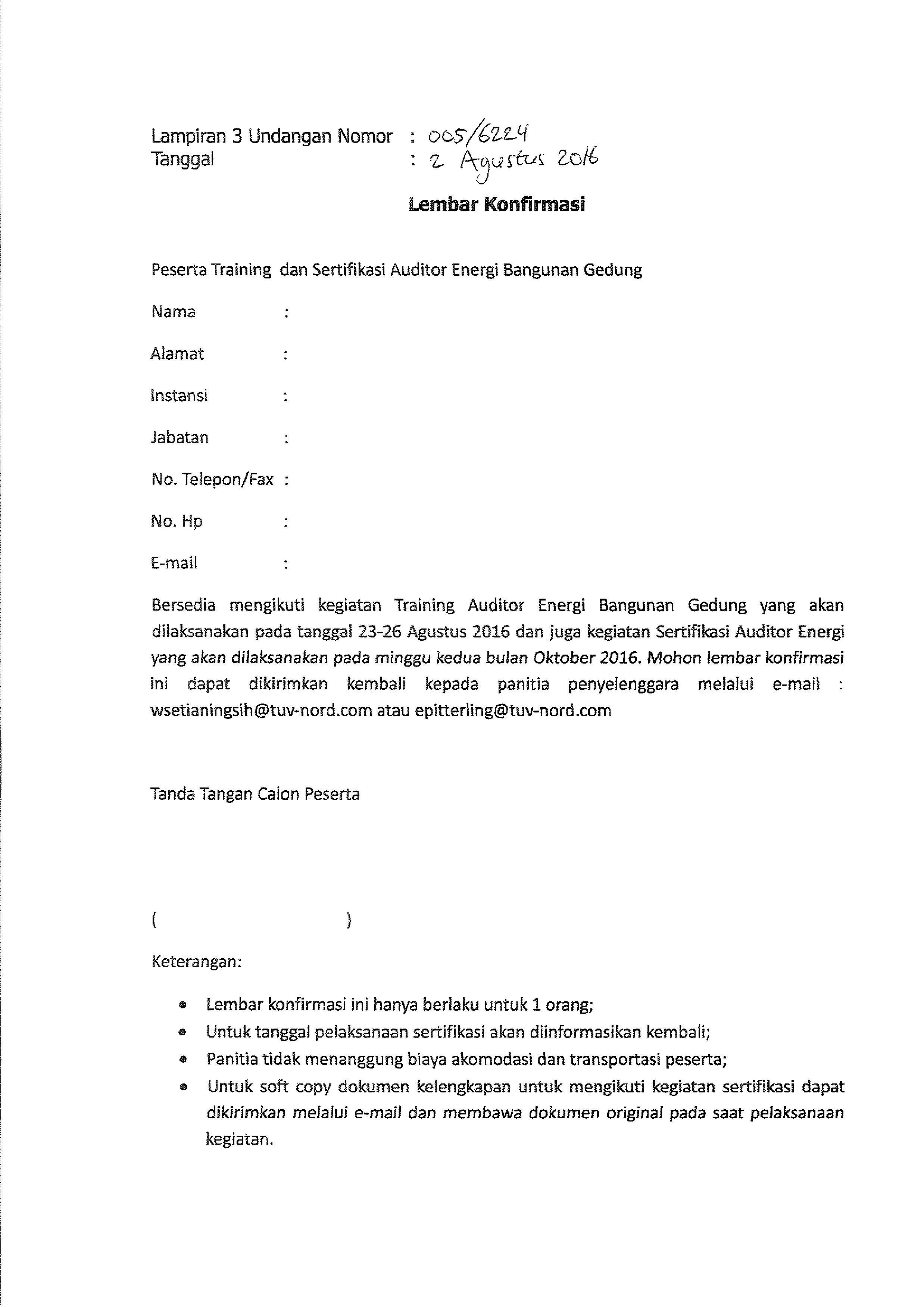 Invitation energy auditor training semarang confirmation letter invitation energy auditor training semarang confirmation letter stopboris Image collections