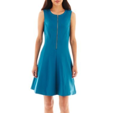 Worthington® Sleeveless Zipper Fit-and-Flare Dress   found at @JCPenney