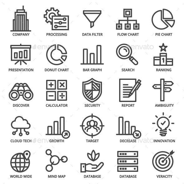 Big Data Icon Set. Fully customisable set of icons. #icon