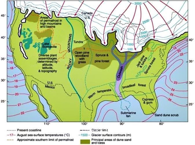 Landscape types in North America during Last Glacial Maximum ... on mesolithic map, hominid map, 1500s map, 1850s map, pliocene map, koobi fora map, glaciation map, species map, holocene map, early cretaceous map, laetoli map, 1700's map, climate map, clay map, oligocene map, limestone map, younger dryas map, florida on world map, paleogene map, 8th century map,