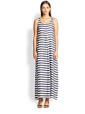 52f7382c7f6 Max Mara Calore Striped Tea-Length Dress