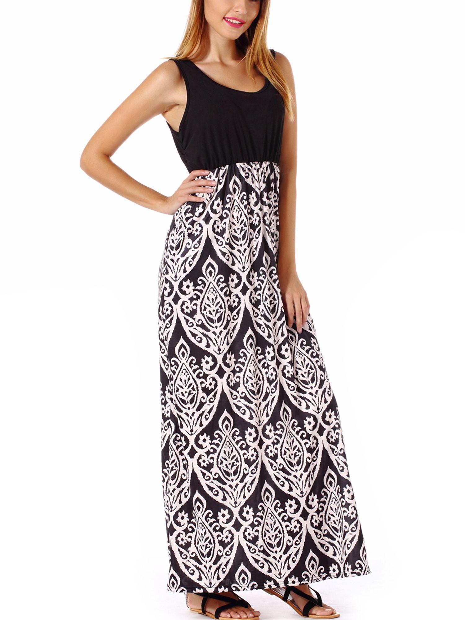 Sayfut Vintage Print Long Maxi Dress Women Summer Sundress Fit And Flare Sleeveless Bohemian Boho Beach Dress Walmart Com Summer Dresses For Women Womens Maxi Dresses Long Summer Dresses Maxi [ 2000 x 1500 Pixel ]