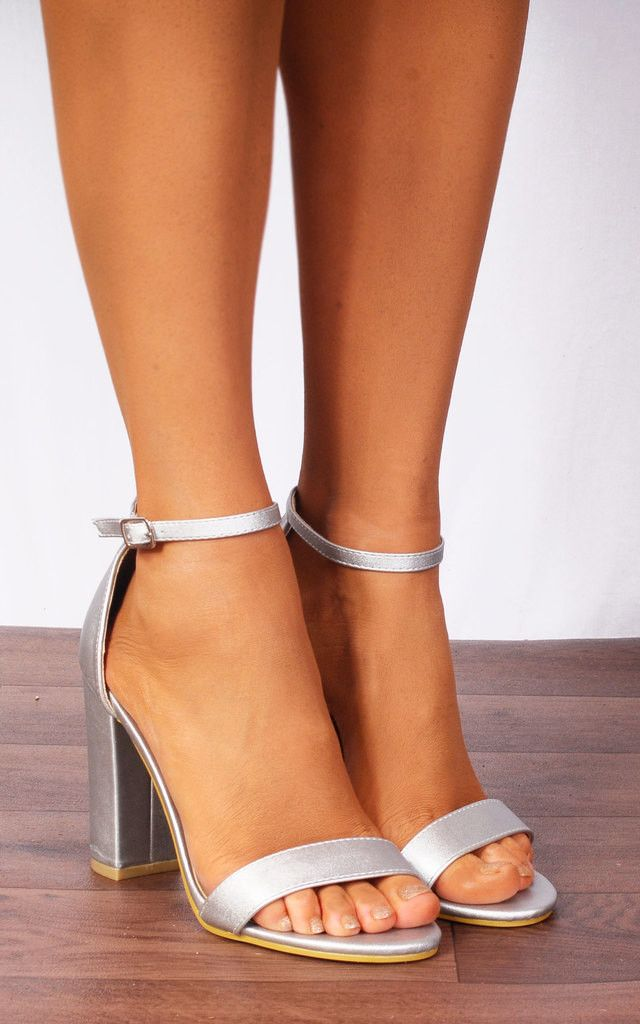 8164eb2d37c Silver Metallic Barely There Ankle Strap Strappy Sandals High Heels ...