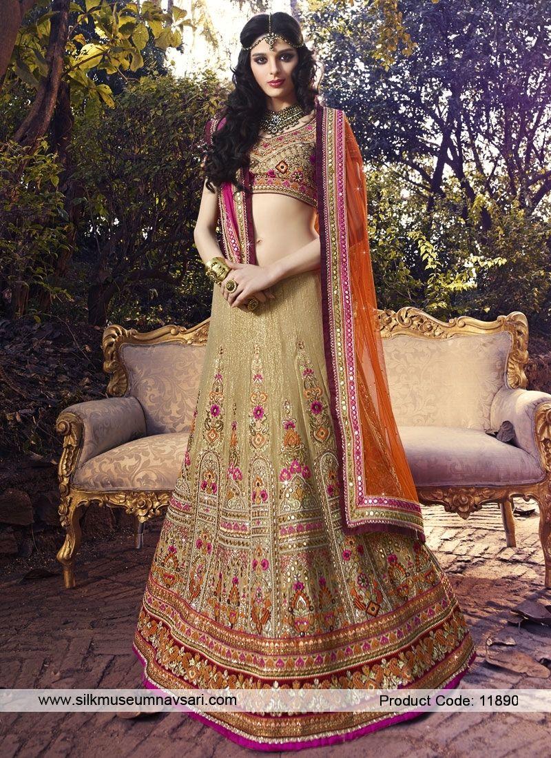 Affluent kasab beige shimmer lehenga choli indian bridal