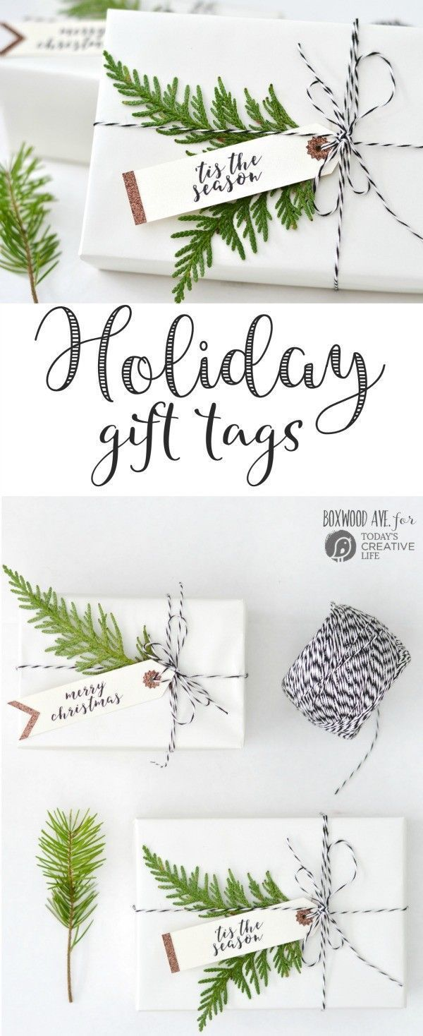 Holiday Gift Tags DIY Holiday Gift Tags made with a Cricut Explore Air by Boxwood Ave. for  | Make simple Christmas gift tags for simple gift wrapping that looks amazing!