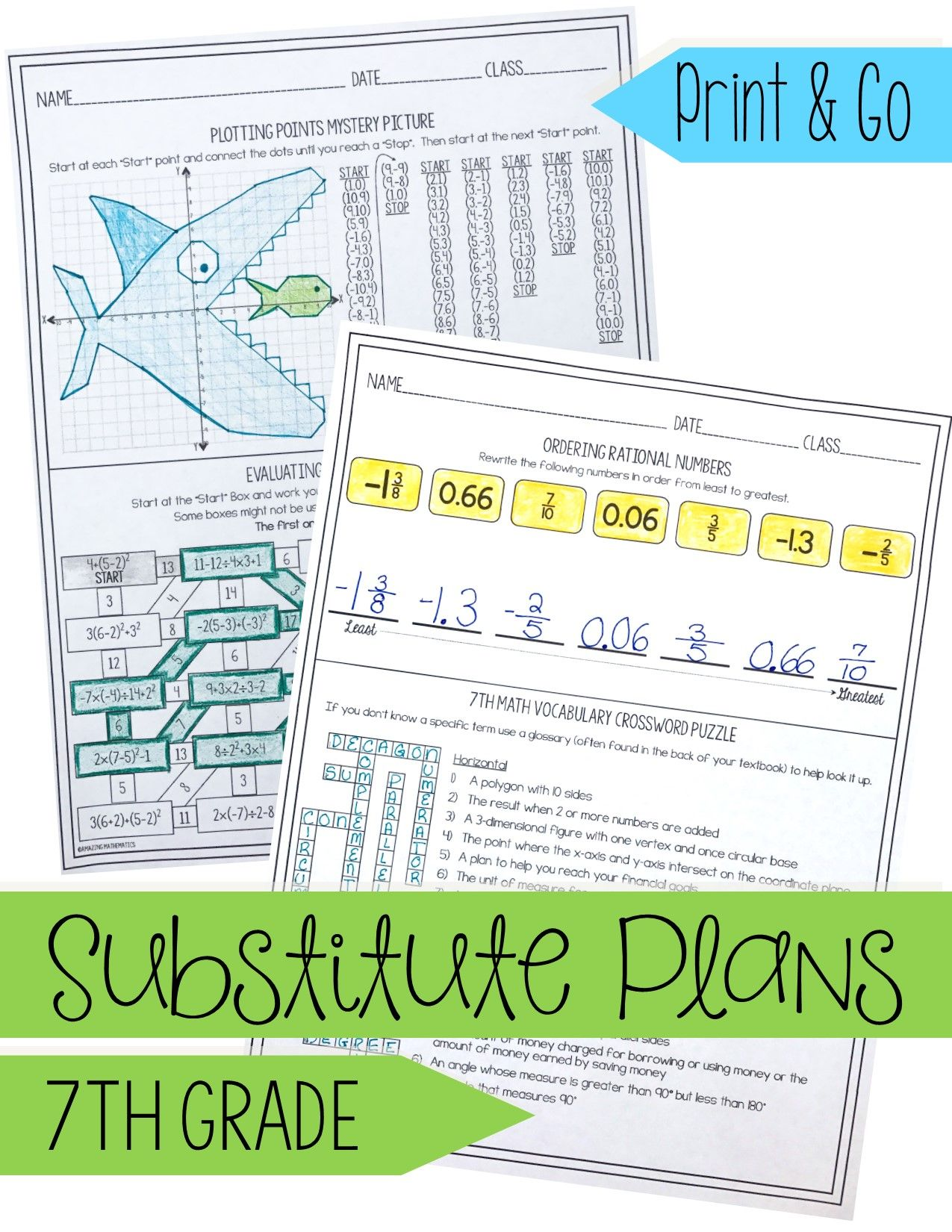 7th Grade Math Sub Lesson Substitute Teacher Activity