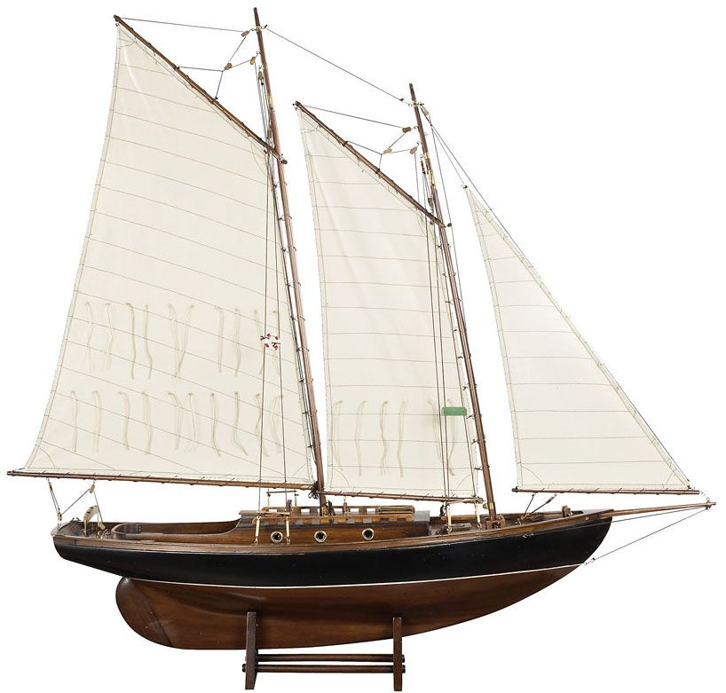 """Authentic wooden model of the sailing yacht """"Friendship"""". W 47-1/4 x D 9-3/4 x H 45-3/4 in. Item code: AS104F £312"""