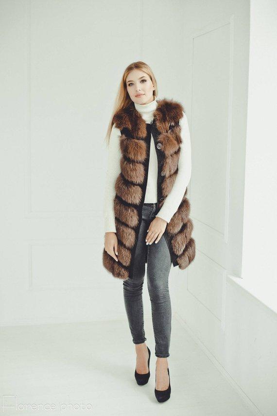 3470b5272319 Real fur vest women - Sleeveless jacket for winter - Womens coats - Luxury  gift for her