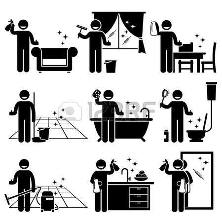 Pictogram Man Washing And Cleaning House Sofa Windows Wooden Furniture Floor