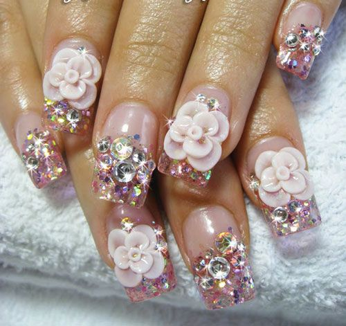 3d--nail-art-flowers-rhinestones Too Much? For Me, Yes