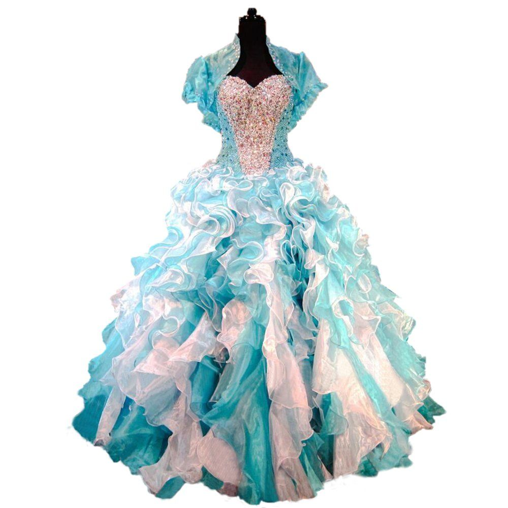 Turquoise Princess Prom Dress