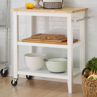 Raabe Kitchen Cart With Wood Top
