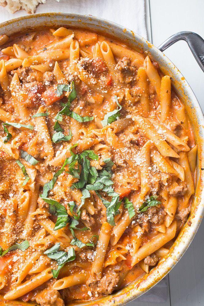 One Pot Creamy Sausage Pasta Recipe Italian Sausage Recipes