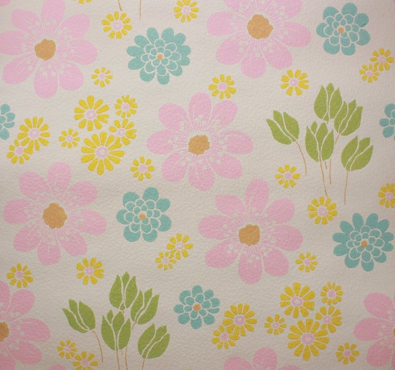 1960s Vintage Wallpaper Retro Pink and Blue Flowers on White by the Yard