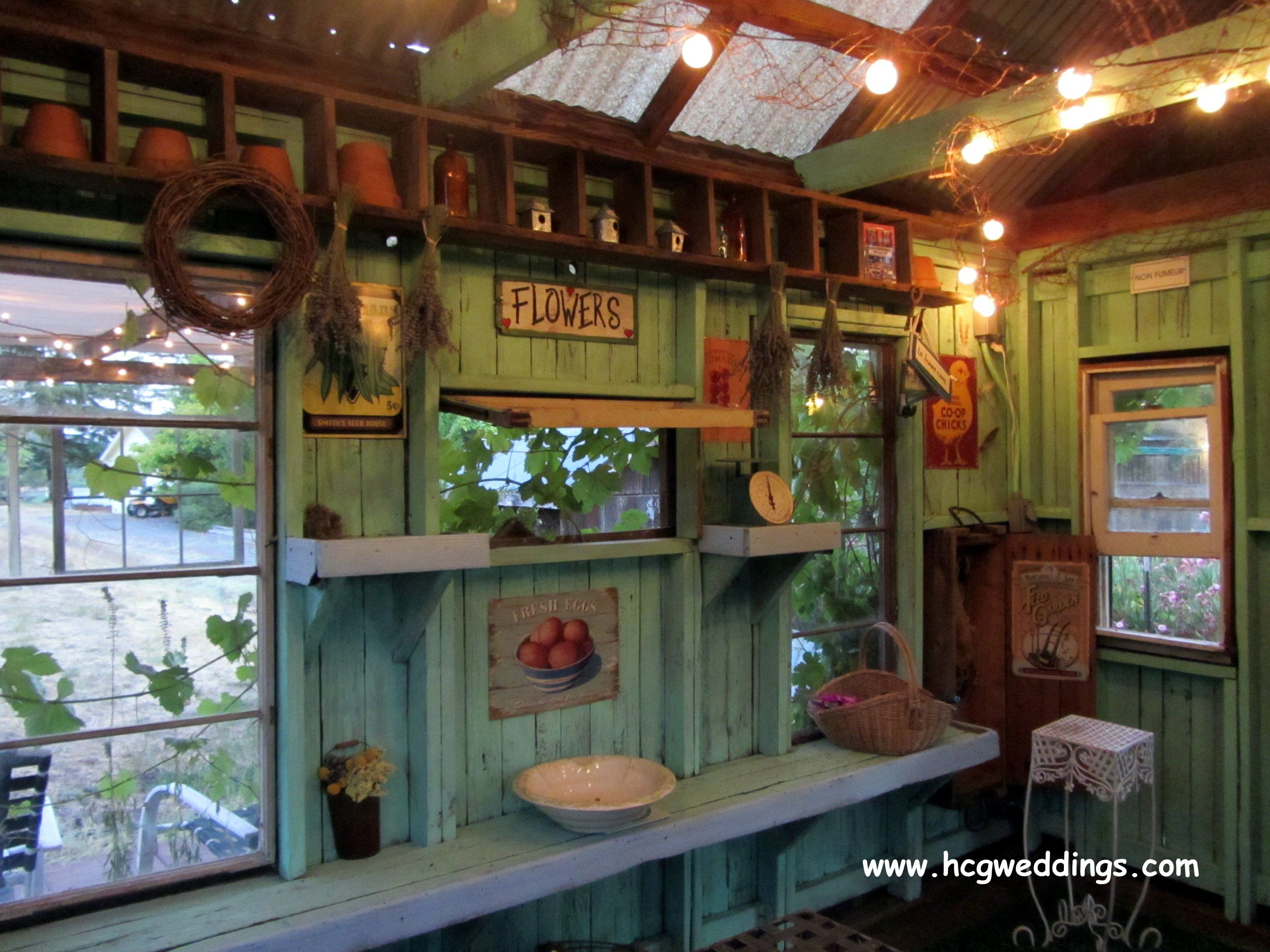The potting shed is in the zin vineyard at healdsburg for Garden shed interior designs
