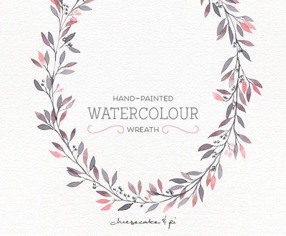 Watercolor Wreath: PNG Floral Clip Art / Flower Wreath / Wedding Invitation  Clip Art /