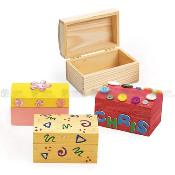 Pack Of 4 Diy Paint Yr Own Wooden Jewelry Box Treasure Chest Party