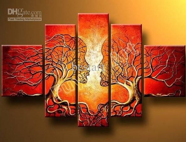 Abstract Romantic Red Tree Bench Scenery Canvas Prints Painting Wall Art 5PCS
