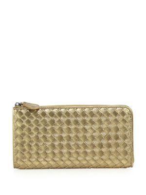BOTTEGA VENETA Intrecciato Metallic Leather Zip-Around Wallet.   bottegaveneta  wallet 9e4b658893696